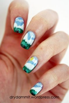 Show your love of the season with some breezy nail art. We think this design from Dry Dammit captures a beautiful landscape.