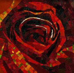 Le Rouge et Le Noir, mosaic by Francoise Moulet; Photo by Lin Schorr