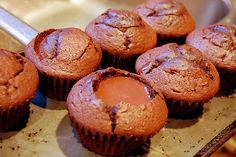 Chocolate flavored cupcakes with putting in the middle