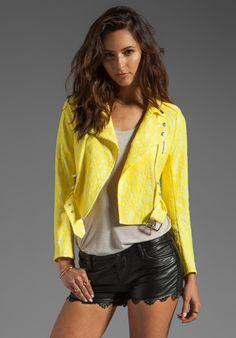 Romantic yellow lace meets edgy motorcycle jacket. LOVING... AMERICAN RETRO Cintia Jacket in Yellow