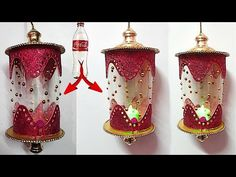 DIY-Lantern/Akash kandil from plastic bottle & glitter sheet Diy Eid Decorations, Christmas Tree Decorations, Christmas Ornaments, Diy Christmas Videos, Diy Christmas Gifts, Plastic Bottle Crafts, Plastic Bottles, Recycled Crafts, Diy Crafts