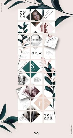 PUZZLE template -Botanical by CreativeFolks on PUZZLE template -Botanical by CreativeFolks on Creating a moodboard using a template in Adobe Illustrator, grid layout and color picker OFF Instagram Feed Layout, Instagram Grid, Instagram Design, Instagram Posts, Insta Posts, Free Instagram, Instagram Story, Web Design, Grid Design