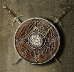 Shield and swords model ancient armor, formats include MAX, OBJ, ready for animation and other projects Celtic Shield, Celtic Knot, Body Art Tattoos, Cool Tattoos, Shield Drawing, Coffee Cup Crafts, Valhalla Viking, Sword Tattoo, Armor Tattoo