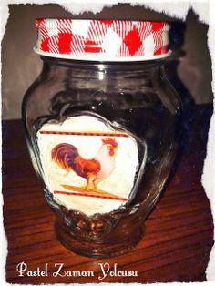 Boyalı ve dekupajlı kavanozlarım / My decoupaged and painted jars