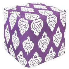 Purple Damask Outdoor Pouf Ottoman (India) | Overstock.com Shopping - Top Rated Ottomans