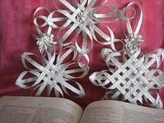 Beautiful stars made from book pages.  Easy to do and make great Christmas package decorations or gifts.