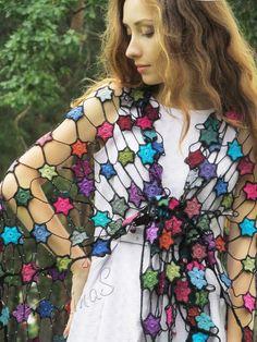 "Summer shawl ""Night Stars"" (crochet shawl, crochet wrap, cotton shawl, crochet lace, шаль крючком, летняя шаль, шаль из хлопка)"