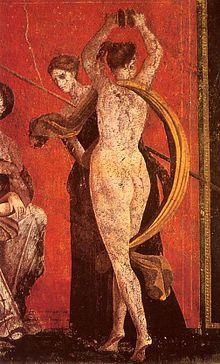 Detalle de los frescos de la villa de los misterios.