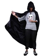 Naice Halloween Costumes Men's Full Length Cape with Hood Black Smooth Satin, One Size