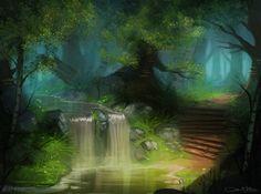 Twin Waterfall by Amanda-Kihlstrom.deviantart.com on @deviantART