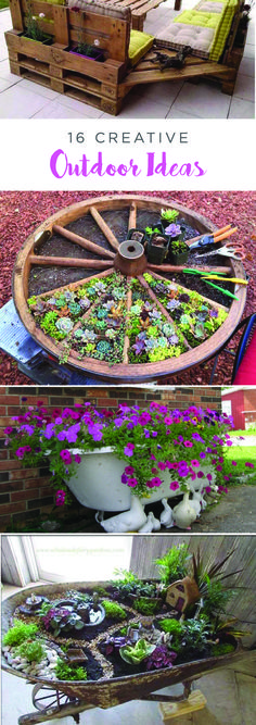Give your backyard a spring makeover and repurpose unused items with these creative DIY gardening and outdoor decor projects. From a succulent garden planted in a wagon wheel to a creative patio set made from wooden pallets, this list is sure to inspire you to get outside and get busy!