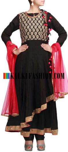 Buy Online from the link below. We ship worldwide (Free Shipping over US$100) http://www.kalkifashion.com/black-anarkali-suit-with-overlapping-kali-by-seema-oberoi-only-on-kalki.html Black anarkali suit with overlapping kali by Seema Oberoi only on Kalki