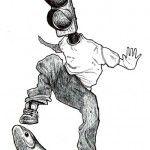Skater semáforo - Ilustración de René Merino.