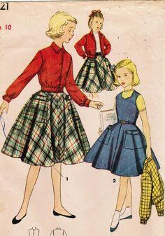 Vintage 1953 Simplicity 4421 Sewing Pattern Girls' Skirt, Jumper, Jacket Size 10. $10.00, via Etsy.