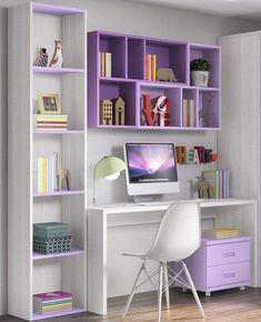 Shelves In Bedroom, Bedroom Desk, Room Design Bedroom, Room Ideas Bedroom, Home Room Design, Bed Room, Desk Shelves, Diy Bedroom, Girls Bedroom