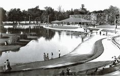 """Playland Park, South Bend IN (1890s-1961)  1890s-1961. Had a roller coaster, the Jack Rabbit; a 100xx165 ft swimming pool; a casino; outside racetrack for cars, motorcycles & horses; a ballroom, later also used as a roller skating rink; a fun house, a maze of mirrors; a """"Canal of Venice"""" with floating gondolas; & a merry-go-round. Was between Ironwood Drive and Holly's Landing Restaurant. The park extended as far south as Lincoln Way East."""