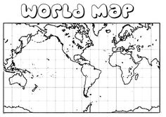 Square World Map Coloring Page : Kids Play Color