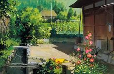 Art by 男鹿 和雄 Kazuo Oga* - Background Art Studio Ghibli Background, Animation Background, Art Background, Hayao Miyazaki, Fantasy Landscape, Landscape Art, Landscape Design, Environment Concept Art, Environment Design