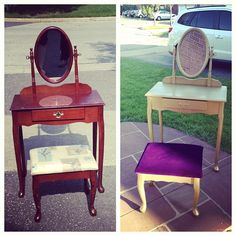 My first DIY project  Gold vanity table w purple velvet stool My DIY little girl s vanity turned out great    My DIY   Pinterest  . Diy Vanity For Little Girl. Home Design Ideas