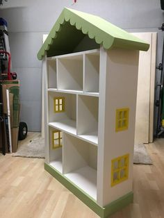 Dollhouse Bookcase, Kids / Child's House Bookshelf Girls Bookshelf, Childrens Bookcase, Bookshelves Kids, Bookcases, Dollhouse Bookcase, Diy Dollhouse, Dollhouse Furniture, Doll House Plans, Diy Projects For Kids
