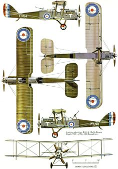 DH.4 Unit: 202 Sqn, RFC Serial: T (F5706) Later production aircraft. Equipped with Rolls Royce Eagle VIII engine.