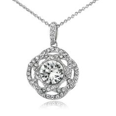 Crystal Ice Silverstone Swarovski Elements Interlocking Circle... ($19) ❤ liked on Polyvore featuring jewelry, necklaces, white, charm necklaces, circle pendant necklace, chain necklace, interlocking circle necklace and long necklaces
