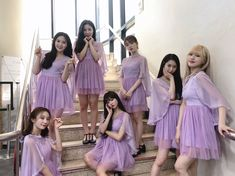 Kpop Girl Groups, Korean Girl Groups, Kpop Girls, Purple Outfits, Cool Outfits, Shower Outfits, Foto Pose, Bridesmaid Dresses, Wedding Dresses