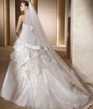 2015 vente chaude longues romantique tissu Organza bord blanc ivoire chapelle voiles de mariée pour le mariage(China (Mainland))