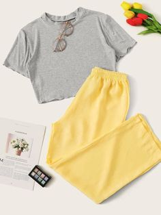 Shop Lettuce Trim Rib Top With Satin Pants PJ Set at ROMWE, discover more fashion styles online. Cute Lazy Outfits, Teenage Outfits, Outfits For Teens, Trendy Outfits, Summer Outfits, Girls Fashion Clothes, Teen Fashion Outfits, Girl Outfits, Clothes Women