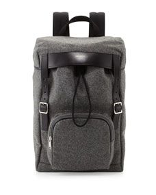Saint Laurent Mens Hunting Flannel Backpack, Gray