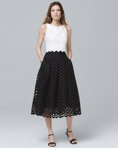 55e44a75d19 Women s Lattice Black Full Midi Skirt by White House Black Market Full Midi  Skirt