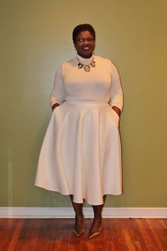 This is A-MAZ-ING. I love that skirt, and the all-white is so fresh, and I love the metallic accents.