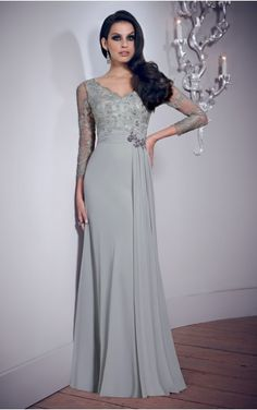 V-neck 3/4-Length Sleeves Sheath Zipper Floor-length Formal Dresses afba307032