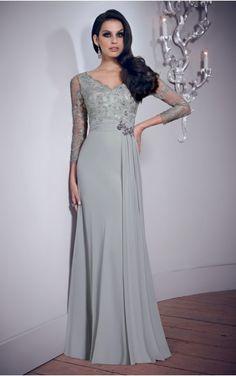 V-neck 3/4-Length Sleeves Sheath Zipper Floor-length Formal Dresses afba307032