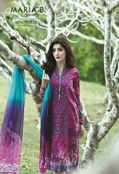 #Maria.B Lawn SS 2015. Maria. B launched their latest #summercollection with vibrant and refreshing prints, decked with machine embroidery and chiffon printed dupattas, featuring beautiful and stunning sisters #UrwaHocane and