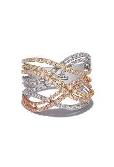 Effy Trio 14K Tri Color Gold Diamond Fashion Ring, 1.11 TCW