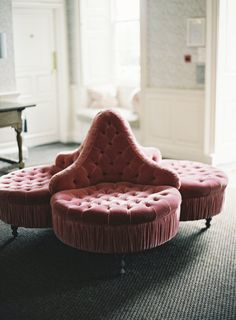 Pink tufted lounge chair