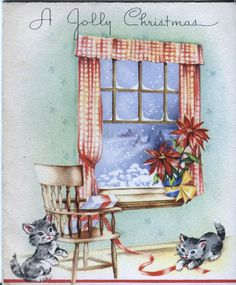 Vintage Christmas Card - Kittens Playing with Ribbon