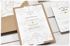 Debonair Wedding Invite Suite with Ribbon| Kraft whimsical invitation | Smitten On Paper