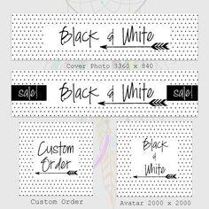 Etsy Shop Banner Set-Modern Minimal Etsy Shop Banner Set-White Etsy Banner Set-Arrow Banner Set-Black & White