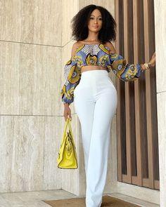 White pants X an African print top 💛🖤 _____ _____ 👸🏾 Melissa Henson. White pants X an African print top 💛🖤 _____ _____ 👸🏾 Melissa Henson…. White pants X an African print top 💛🖤 _____ _____ 👸🏾 Melissa Henson. African Fashion Ankara, African Inspired Fashion, Latest African Fashion Dresses, African Print Fashion, Fashion Prints, African Print Pants, African Prints, Classy Outfits, Chic Outfits