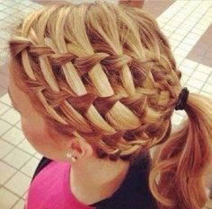 Good for volleyball tournaments. I did this in my hair; it's not as hard as it looks. It's just waterfall braids.
