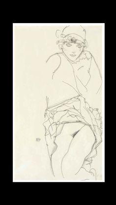 "Egon Schiele - "" Frauenbildnis "", 1913 - Pencil on paper - 48 x 31,7 cm"