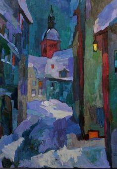 Larisa Aukon, Midnight Alley by Larisa Aukon Oil ~ 40 x 30