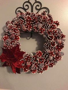 Gorgeous red and white pinecone wreath and poinsettia for Christmas or all winter long Christmas Pine Cones, Etsy Christmas, Christmas Ornaments, Crochet Christmas, Diy Fall Wreath, Holiday Wreaths, Holiday Crafts, Pine Cone Art, Pine Cone Crafts