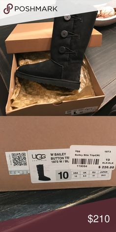 New with box Ugg bailey button Black never worn Uggs.  Bailey button size 10. New in box.   $220 before taxes. UGG Shoes Winter & Rain Boots