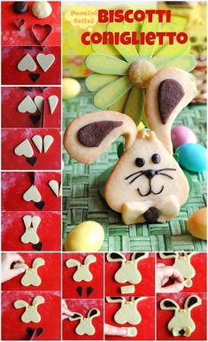 #Biscotti coniglietto, ovvero i bisconiglietti! A #merenda o #colazione? Come simpatici #segnaposto o ricordini da regalare opportunamente impacchettati? #Pasqua Easter Cupcakes, Easter Cookies, Easter Treats, Holiday Cookies, Cookies For Kids, Cute Cookies, No Bake Cookies, Easy Cookie Recipes, Easter Recipes