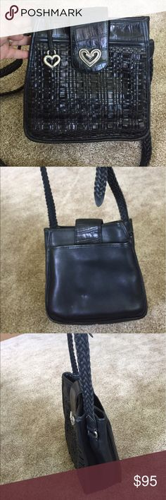 "Brighton Leather Purse ""Gloria"" EUC Beautiful Black   leather brighton bag with a matching leather woven adjustable shoulder strap.  Strap is long enough to be used as a Crossbody.  The artfully woven leather front and beautiful silver hardware make this bag look so  elegant.  EUC. Brighton Bags Crossbody Bags"