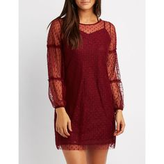 Charlotte Russe Swiss Dot Ruffle-Trim Shift Dress ($16) ❤ liked on Polyvore featuring dresses, burgundy, long sleeve lace dress, floral shift dress, red dress, red lace dress and long sleeve dress