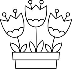 Fleurs - My Digital Stamps Spring Coloring Pages, Coloring Book Pages, Coloring Sheets, Coloring Pages For Kids, Free Coloring, Art Drawings For Kids, Drawing For Kids, Easy Drawings, Art For Kids